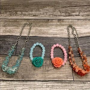 Costume Jewelry Coral and Teal Necklace Bracelet